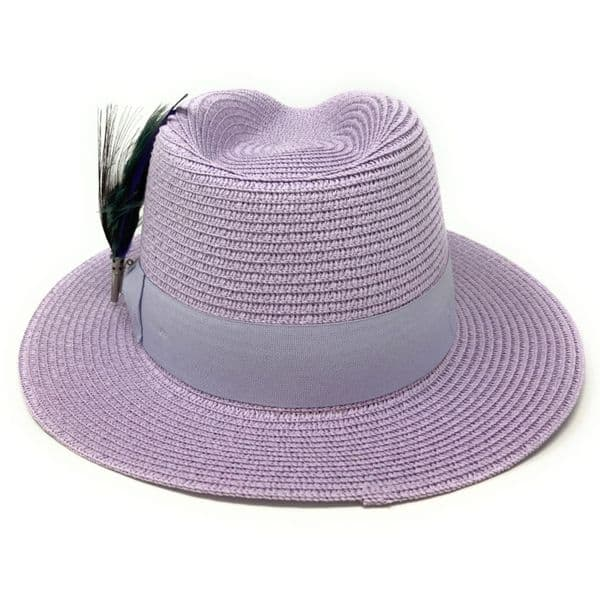 Womens Lavender Purple Summer Fedora Hat with Removable Peacock Feather Brooch - Laverton